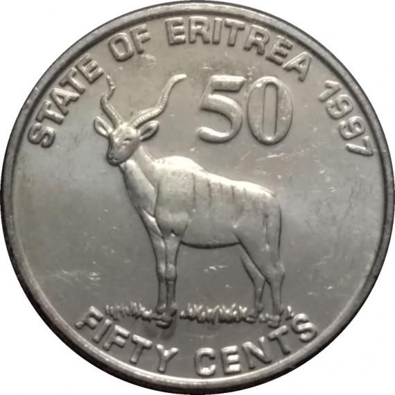 Moeda 50 centavos - Eritreia - 1991