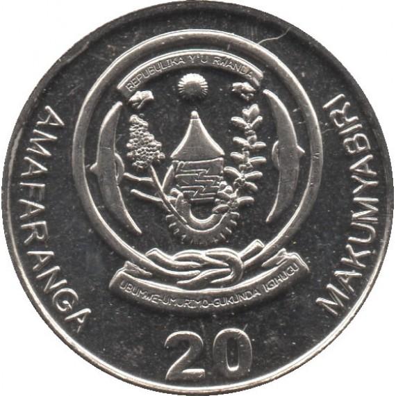 Moeda 20 francos - Ruanda - 2009