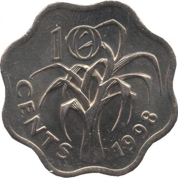 Moeda 10 cents - Suazilândia - 1998