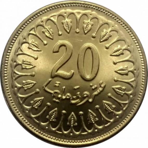 Moeda 20 dinar tunisiano - Tunísia - 2001