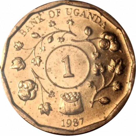 Moeda 1 shilling - Uganda - 1987