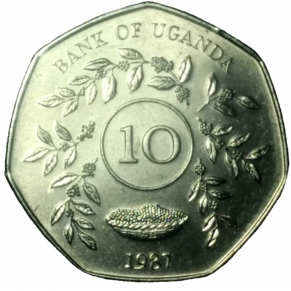 Moeda 10 shilling - Uganda - 1987