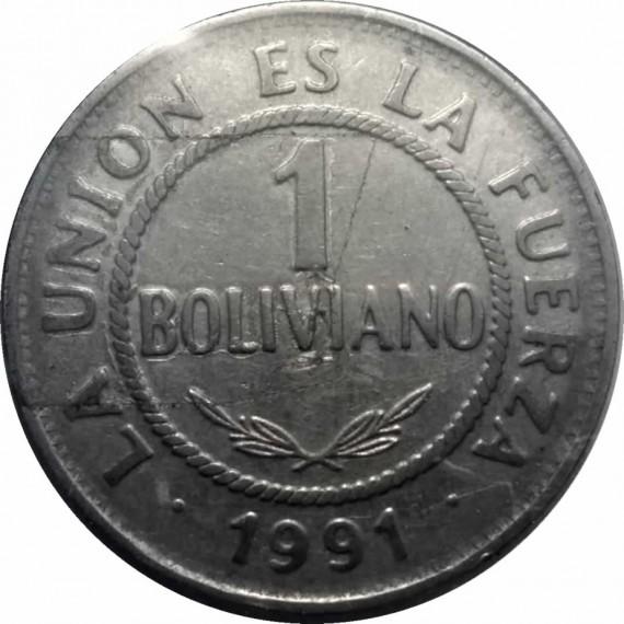Moeda 1 boliviano - Bolivia - 1991