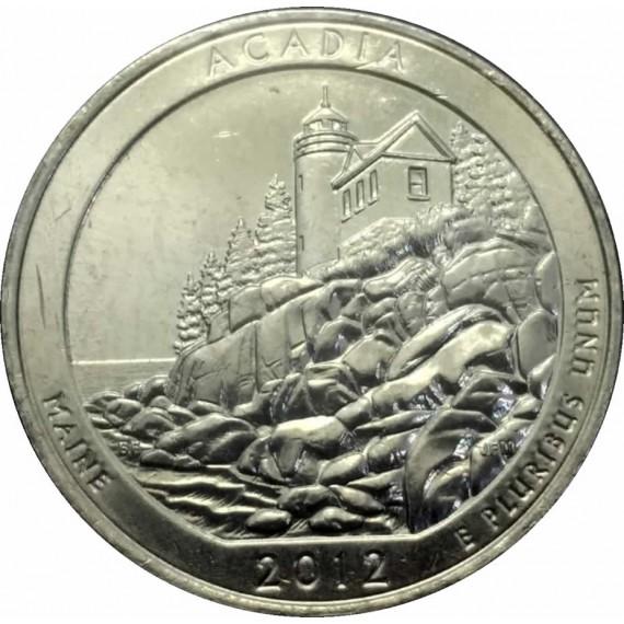 Moeda 0,25 Dolar - EUA - Parks Acadia - 2012 P