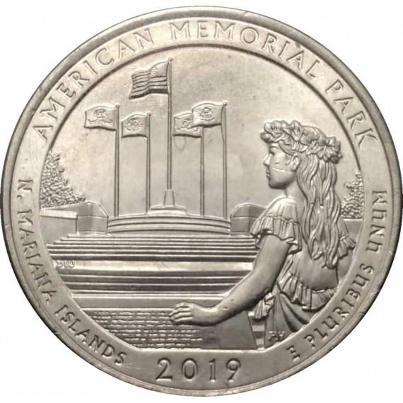 Moeda 0,25 Dolar - EUA - Parks American Memorial Park 2019 P