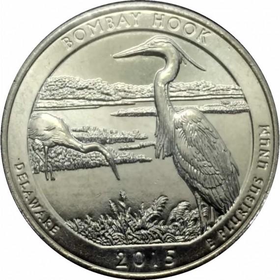 Moeda 0,25 Dolar - EUA - Parks Bombay Hook 2015 D