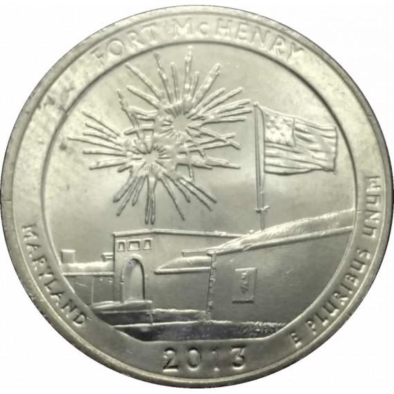 Moeda 0,25 Dolar - EUA - Parks Fort McHeney - 2013 D