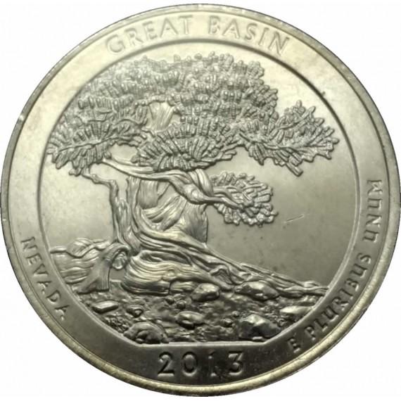 Moeda 0,25 Dolar - EUA - Parks Great Basin - 2013 P