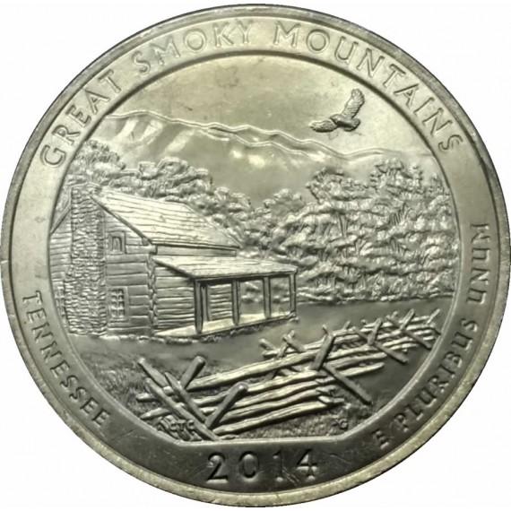 Moeda 0,25 Dolar - EUA - Parks Great Smoky Mountains 2014 P