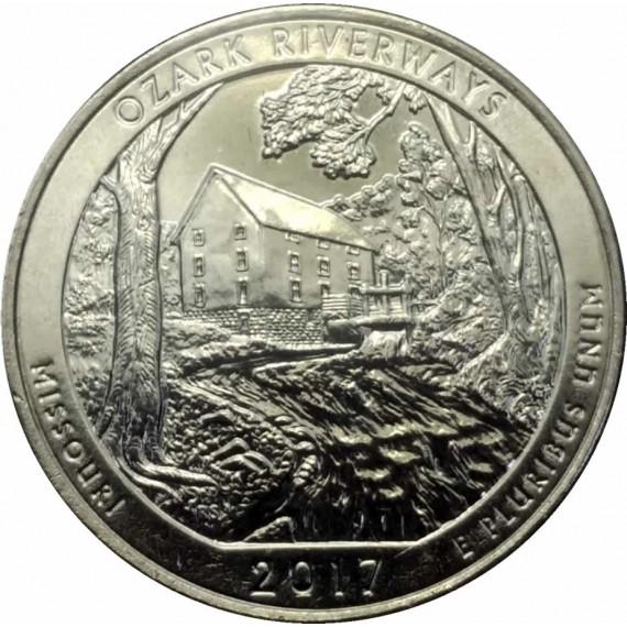 Moeda 0,25 Dolar - EUA - Parks Ozark Riverways 2017 D
