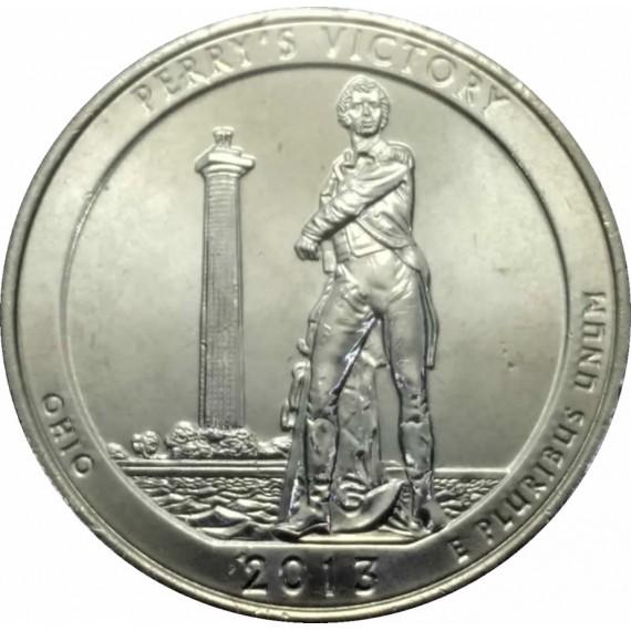 Moeda 0,25 Dolar - EUA - Parks Perru's Victory - 2013 D