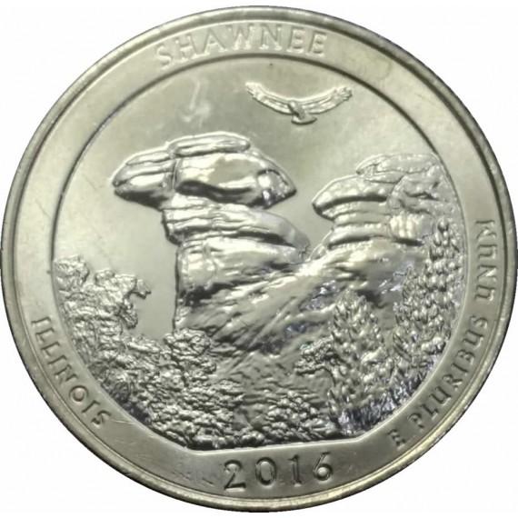 Moeda 0,25 Dolar - EUA - Parks Shawnee 2016 P