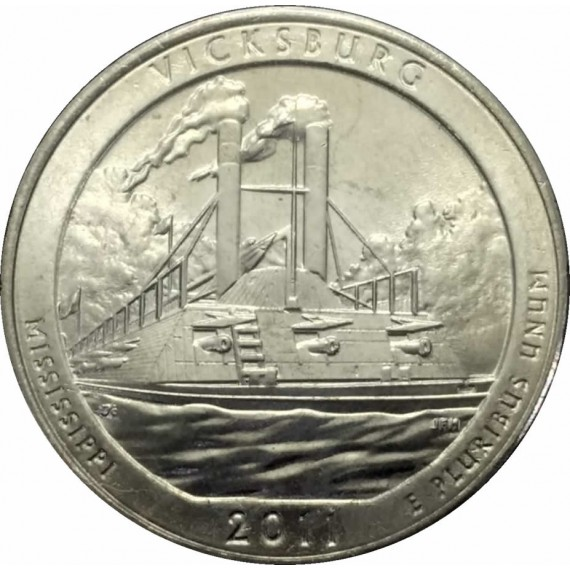 Moeda 0,25 Dolar - EUA - Parks Vicksburg - 2011 P