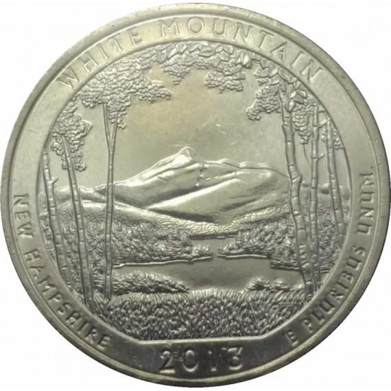 Moeda 0,25 Dolar - EUA - Parks White Mountain - 2013 D