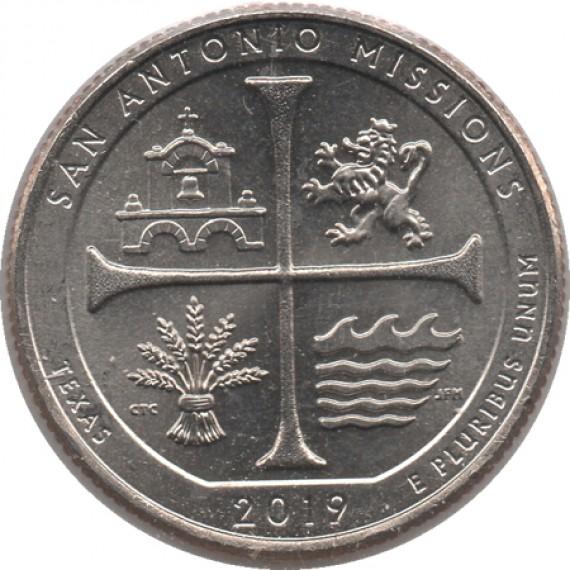 Moeda 0,25 Quarter Dolar - EUA - San Antonio Missions 2019-P