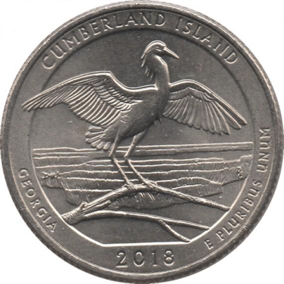 Moeda 0,25 Quarter Dolar - EUA - Gumberland Island 2018-D