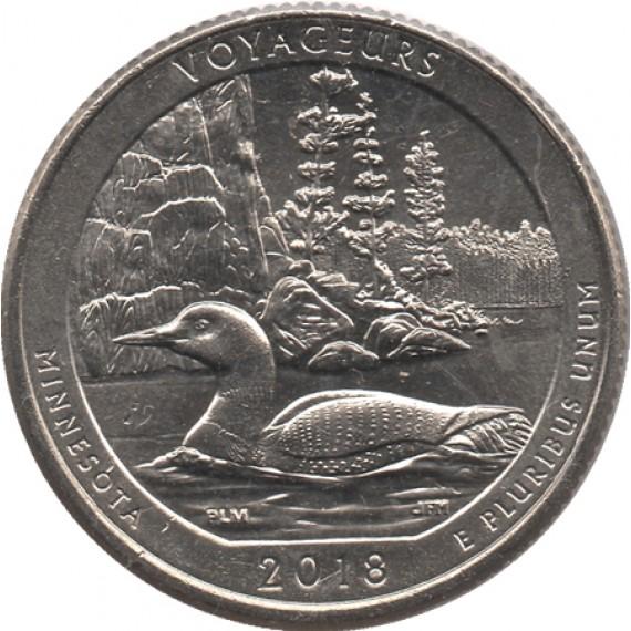 Moeda 0,25 Quarter Dolar - EUA - Voyageurs 2018-P