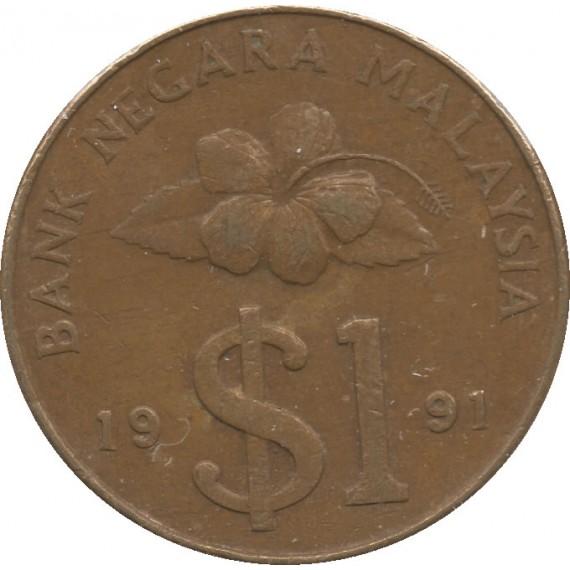 Moeda 1 ringgit - Malásia - 1991