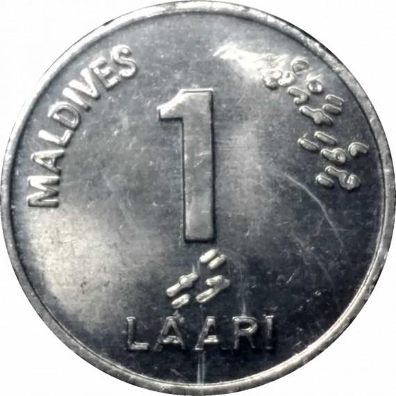 Moeda 1 laari - Maldivas - 2002