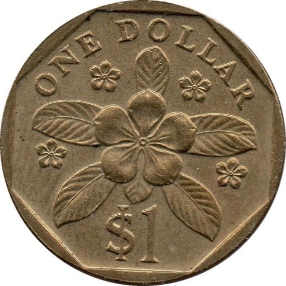 Moeda 1 dollar - Singapura - 1989