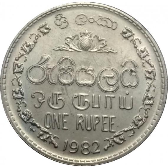 Moeda 1 rupia - Sirilanca - 1982