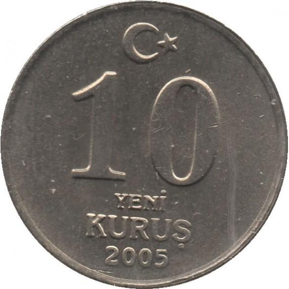 Moeda 10 yeni kurus - Turquia - 2005