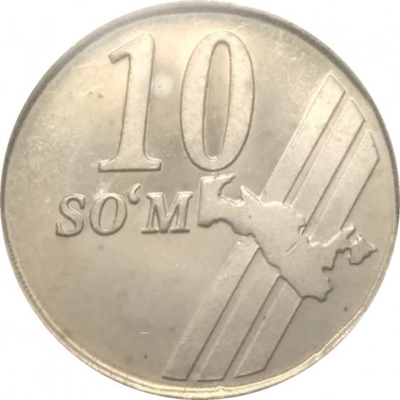 Moeda 10 som - Uzbequistão - 2001
