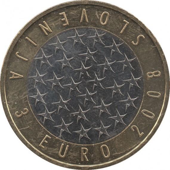 Moeda 3 euro - Eslovênia - 2008