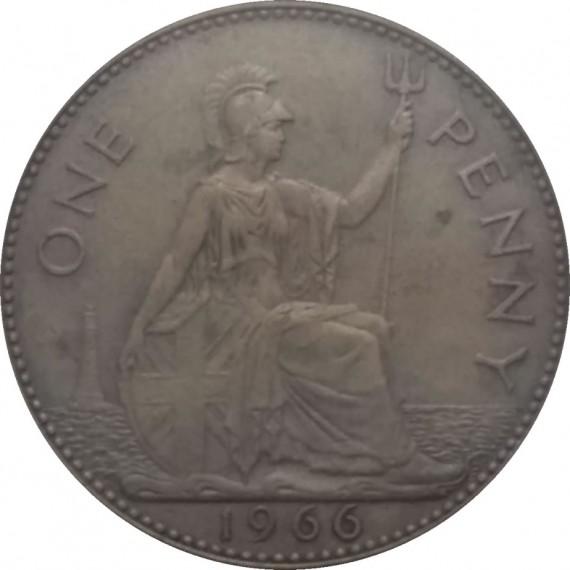 Moeda 1 penny - Inglaterra - 1966