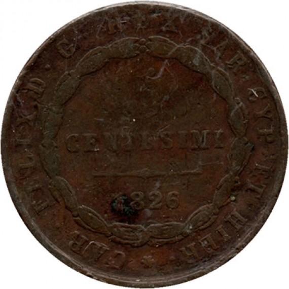Moeda 5 centésimos - Itália - 1826