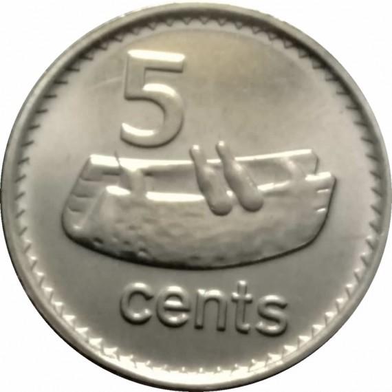 Moeda 5 centavos de dolar - Fiji - 2010