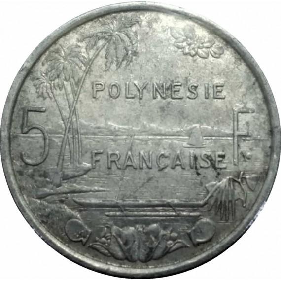 Moeda 5 Francos Polinesia Francesa 1977