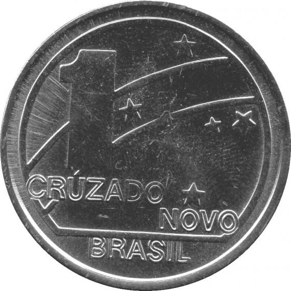 Moeda 1 cruzado novo - Brasil - 1989 Comemorativa Centenário da Republica 1889-1989