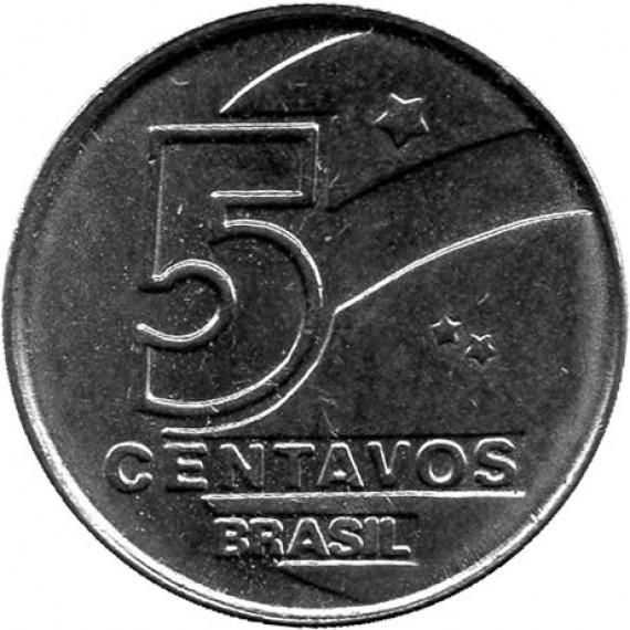 Moeda 5 centavos de cruzado novo - Brasil - 1989