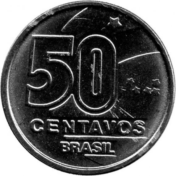 Moeda 50 centavos de cruzado novo - Brasil - 1989