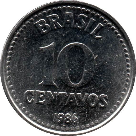 Moeda 10 centavos de cruzado - Brasil - 1986