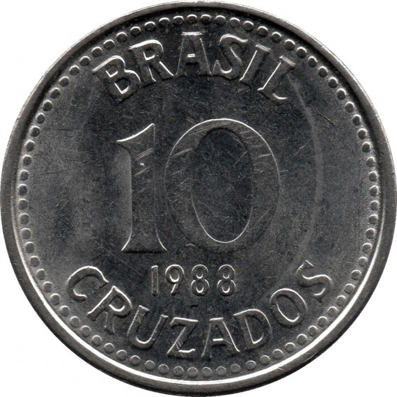 Moeda 10 cruzados - Brasil - 1988