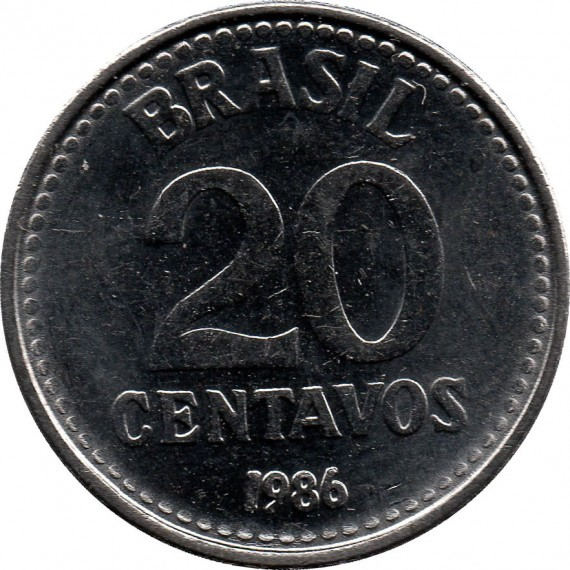 Moeda 20 centavos de cruzado - Brasil - 1986