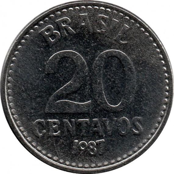 Moeda 20 centavos de cruzado - Brasil - 1987