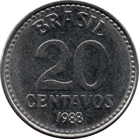 Moeda 20 centavos de cruzado - Brasil - 1988