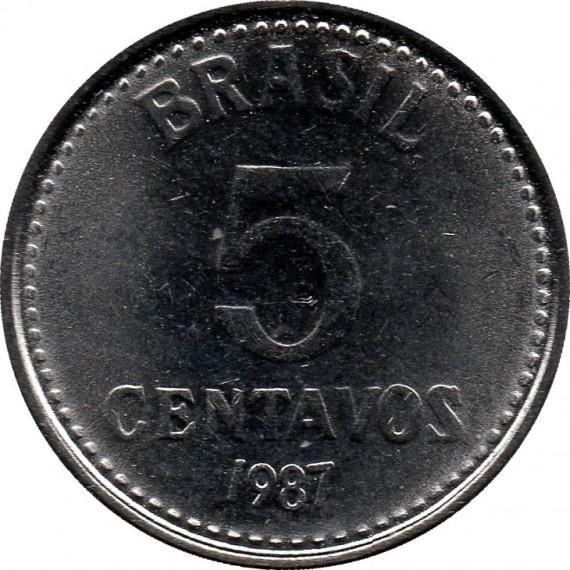 Moeda 5 centavo de cruzado - Brasil - 1987