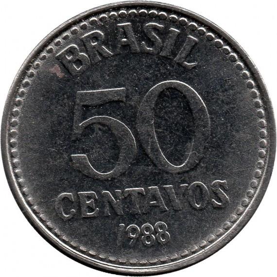 Moeda 50 centavos de cruzado - Brasil - 1988