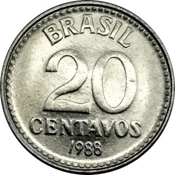 20 Centavos de Cruzado FC - Brasil - 1988 - REF:391