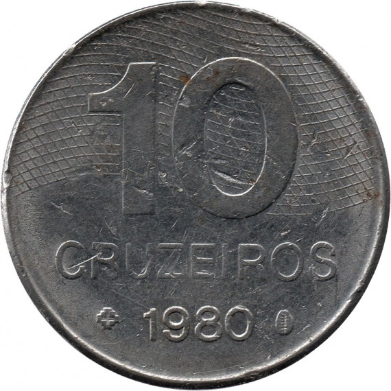 Moeda 10 cruzeiros - Brasil - 1980