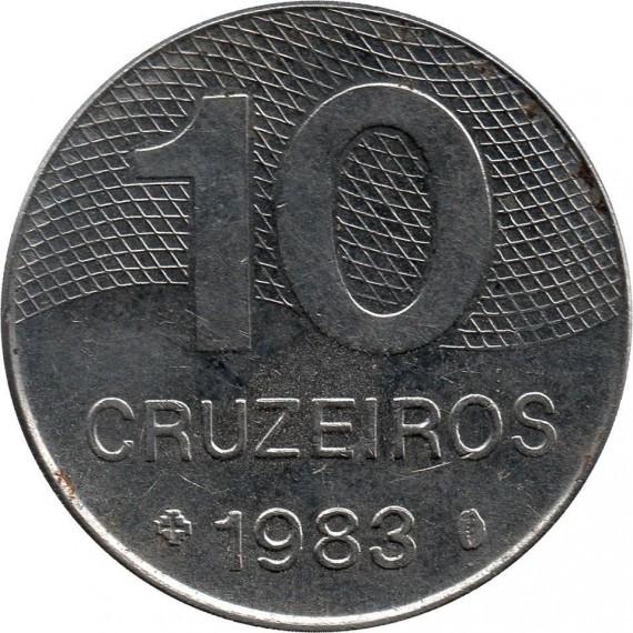 Moeda 10 cruzeiros - Brasil - 1983