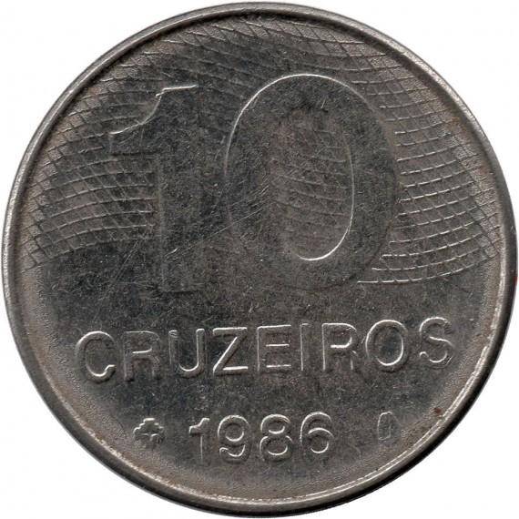 Moeda 10 cruzeiros - Brasil - 1986