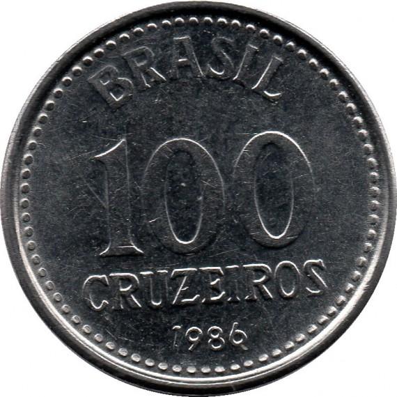 Moeda 100 cruzeiros - Brasil - 1986