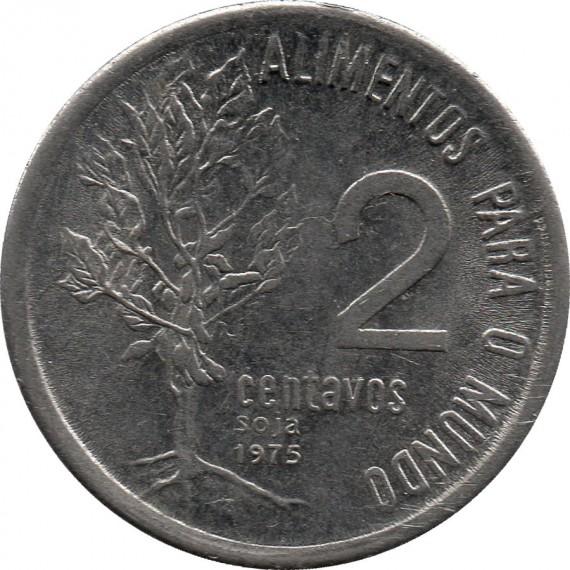 Moeda 2 centavos de cruzeiro - Brasil - 1975