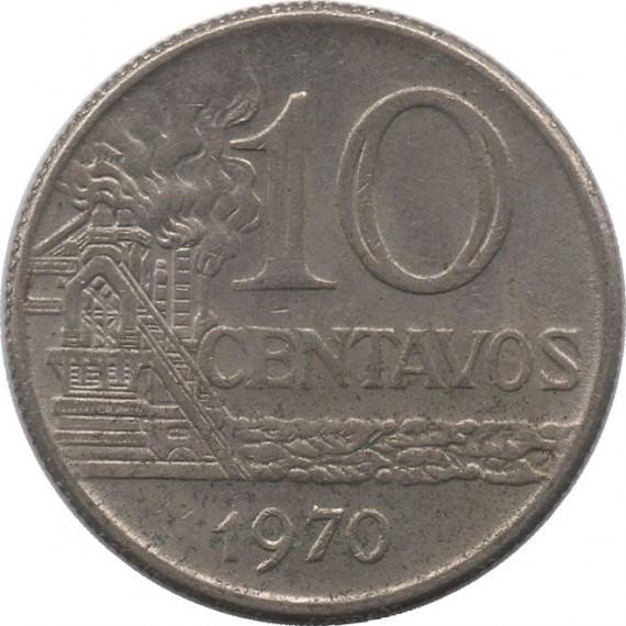 Moeda 10 centavos de cruzeiro - Brasil - 1970 - REF 297