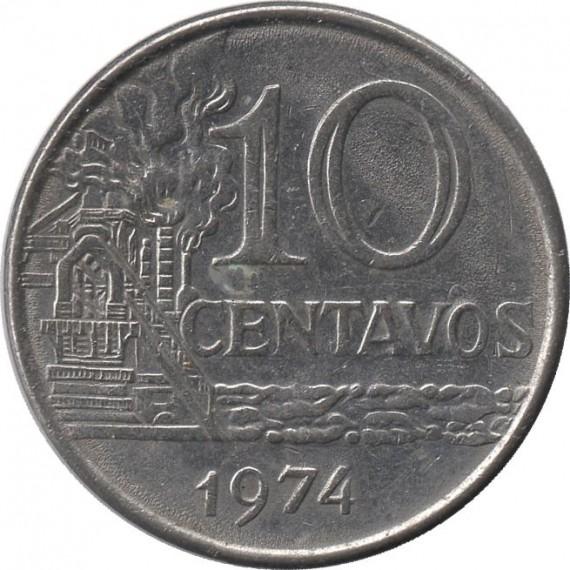Moeda 10 centavos de cruzeiro - Brasil - 1974 - REF 298